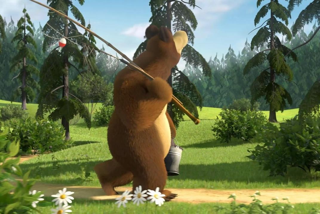 мультфильмы медведь рыбак