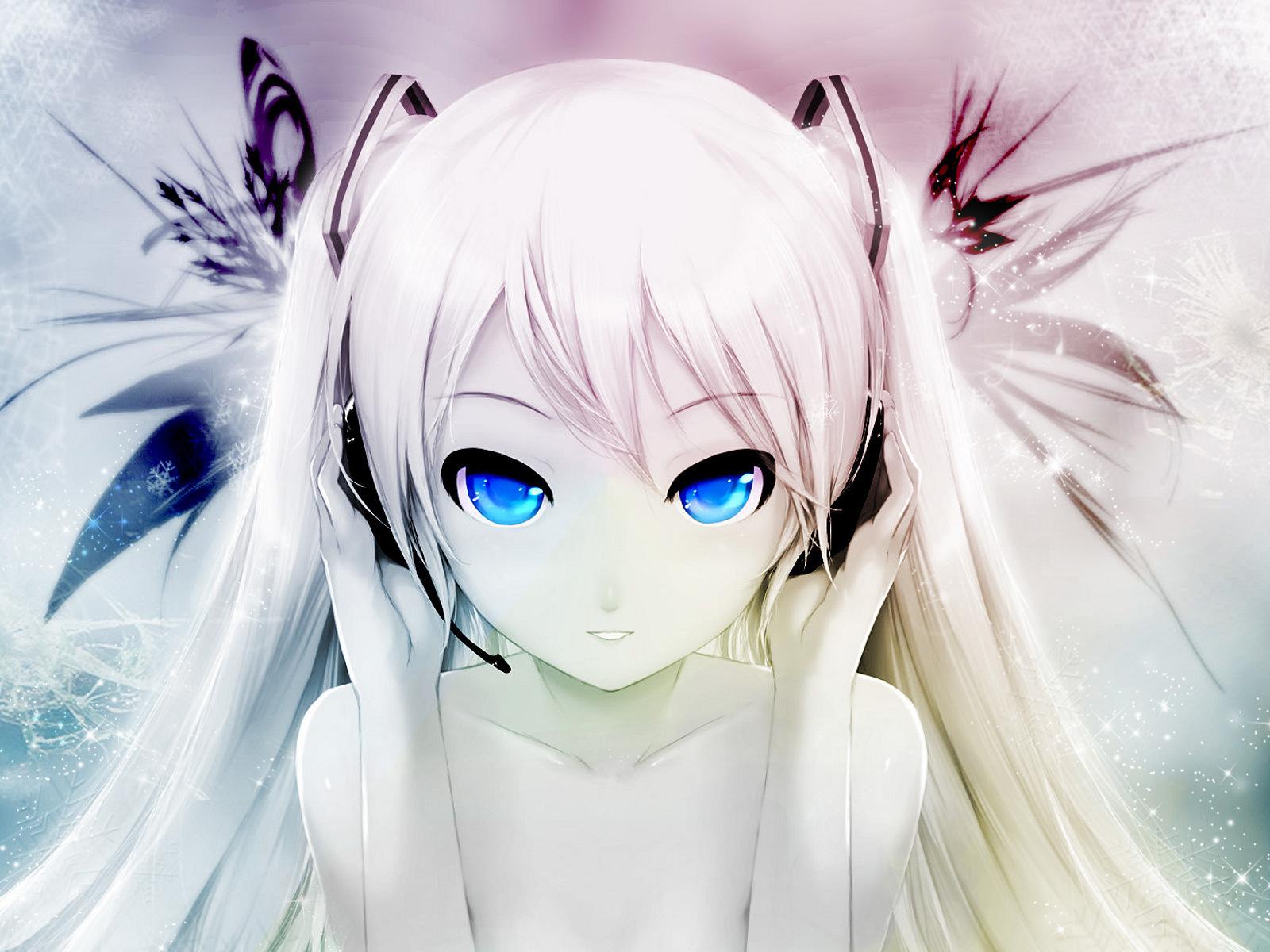 Аниме девушка с белыми волосами