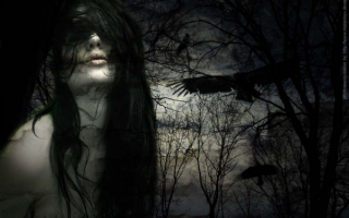 Черный ворон и девушка