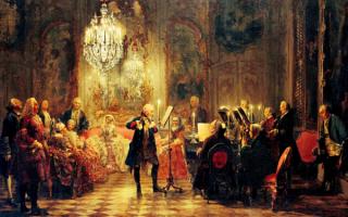 Адольф Менцель. Флейтовый концерт Фридриха Великого в Сан-Суси