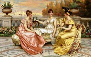 Чаепитие на террасе - картина Фредерика Сулакруа