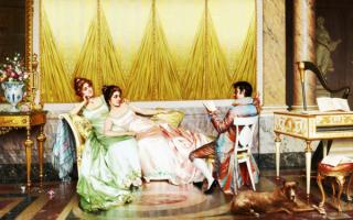 Чтение стихов - картина Витторио Реджианини
