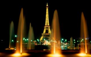 Фонтаны Парижа ночью