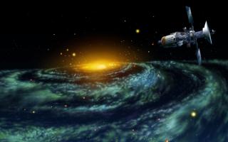 Полет спутника в  глубины галактики