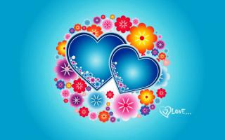 Синие сердечки и цветы