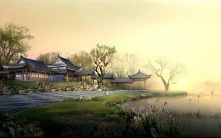 Китайская деревня у озера