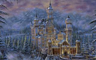 Замок в зимнем лесу