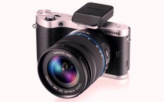 Фотокамера Samsung NX300 с фотовспышкой