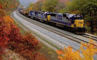 Грузовой поезд с тремя локомотивами