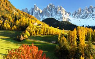 Осень в Доломитовых Альпах Италии