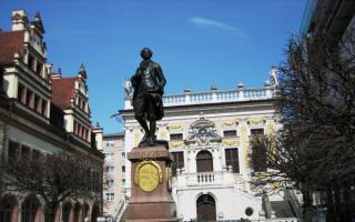 Статуя Иоганна Вольфганга Гёте в Лейпциге
