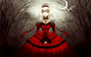 Аниме девушка в красном платье