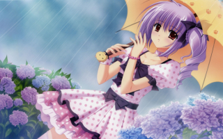 Аниме девушка под дождем