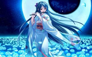 Аниме девушка с флейтой